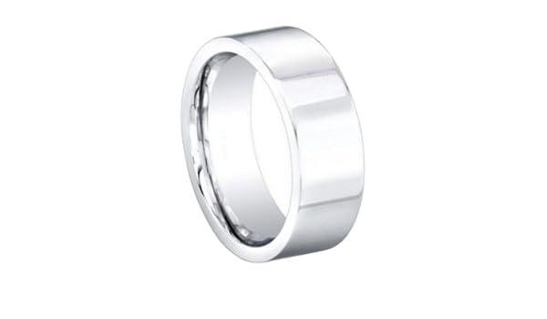 Sizes 8 to 12 Size 8 8MM Cobalt Chrome COMFORT FIT Flat Plain High Polish Polished European Euro Style Wedding Ring Band for Men