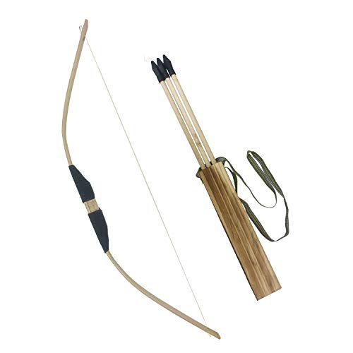 MAYMII Kids Children Child Train Play Bamboo & Wood Wooden Bow Toy and Arrow & Quiver Archery Set Kit of 3 Safe Security Arrows 1 or 2 Pack -