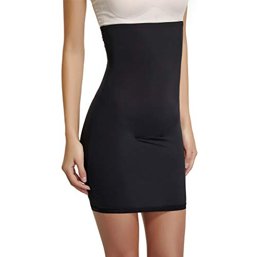 Half Slips for Women Under Dresses High Waist Tummy Control Shapewear Dress Slip Body Shaper Skirt (Black-1, X-Large)