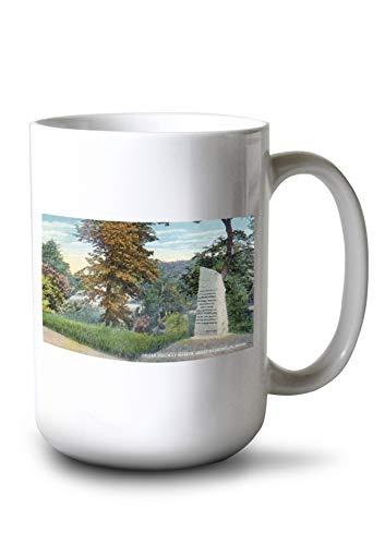 Lantern Press Great Barrington, Massachusetts - View of The Indian Fordway Marker (15oz White Ceramic Mug)