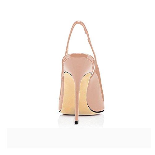 Eldof Sandali Con Tacco Alto Da Donna | Pompe Slingback | Stiletto A Punta | Décolleté Da 10 Cm Beige