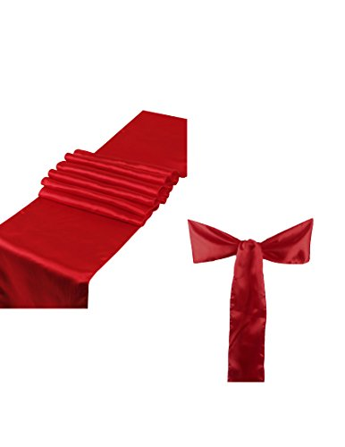 Elina Home Combo Satin Pack 10 Table Runner 12x108Inch & 50 Chair Bow Sash WeddingBanquet Kitchen HomeDecor (Apple RED) ()