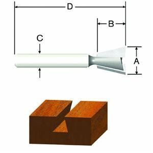 2 Flute Dovetail Router Bit (Vermont American 23113 3/8-Inch by 9-Degree Carbide Tipped Dovetail Router Bit, 2-Flute 1/4-Inch Shank)