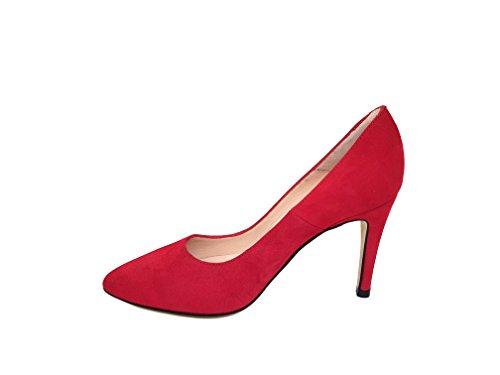42 Ante Zapatos Aguja Talla Rita Mujer Cerrada 445 con para Punta Tacón de Rojo Piel Gennia de UwfaqBBF