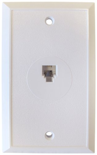 Flush Mount Wall Outlet Jack, 4 Conductor, 6 Position, Plastic, White, Single Gang, 1 Port