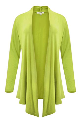 LUVAGE Womens Long Sleeve Draped Open Front Asymmetrical Cardigan ()
