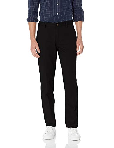 Amazon Essentials Men's Straight-Fit Wrinkle-Resistant Flat-Front Chino Pant, True Black, 38W x 28L ()