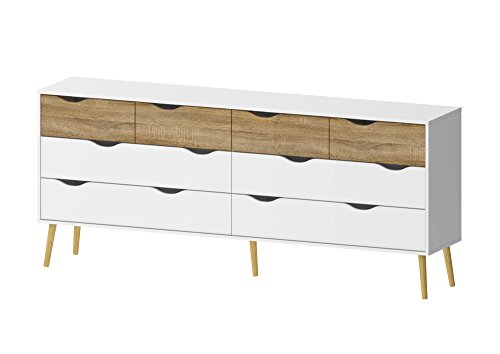 Tvilum 7545549AK Diana 8 Drawer Dresser White/Oak Structure