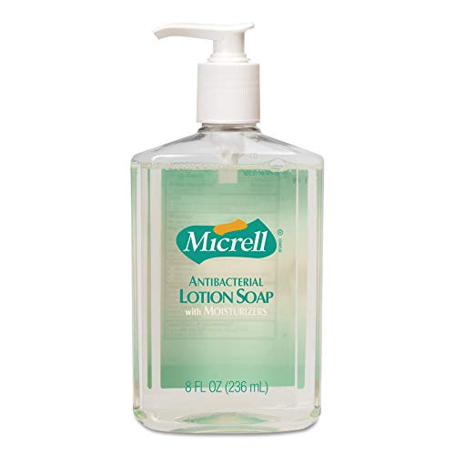 MICRELL Antibacterial Lotion Soap, Light Citrus/Floral Fragrance, 8 fl oz Soap Counter Top Pump Bottles (Case of 12) – 9752-12