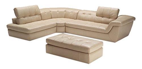 Italian Leather Ottoman (J and M Furniture 17544291-OTT 397 Italian Leather Ottoman in Beige)