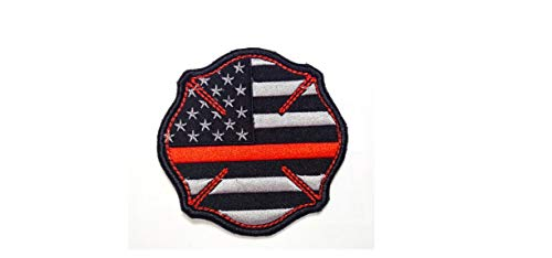 - Firefighter Thin Red Line United States Flag Patch Fire & Rescue EMT EMS Moral Patch Hook Backing)