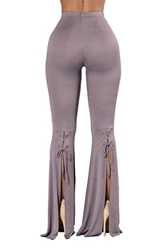 COOleggings Ladies Slinky Leg Flared Bell Bottom Palazzo Pants Light Purple S -