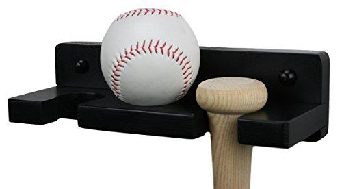 Alpha Routers Wooden Baseball Bat Rack - Wall Mounted Holder Displays Two Bats and One Ball Baseball Bat Ball Holder