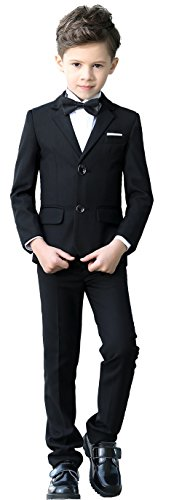 YuanLu Boys Colorful Formal Suits 5 Piece Slim Fit Dresswear Suit Set (Black, - Plain Suit Black