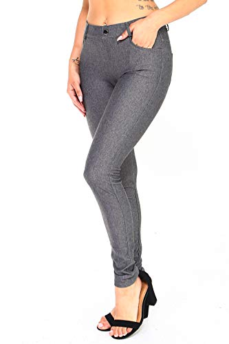 ICONOFLASH Women's Gray Jeggings with Pockets - Pull On Skinny Stretch Colored Jean Leggings Size Large