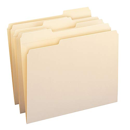 Cut File Folder Letter - Smead File Folder, Reinforced 1/3-Cut Tab, Letter Size, Manila, 100 Per Box (10334)