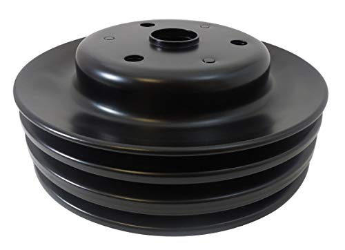 Pirate Mfg Sbc Chevy 283-350 Black Steel Lwp Triple Groove Crankshaft Pulley