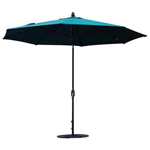 SORARA Patio Umbrella 11 Feet Outdoor Table Market Umbrella with Push Button Tilt&Crank&Umbrella Cover, 8 Ribs, Forest Green ()