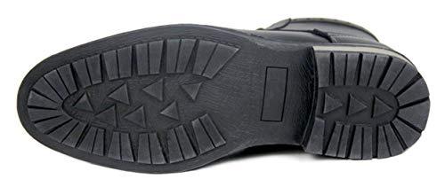 SimpleC Boots Stivali Pelle Bicicletta Nero in Caldo Martin Uomo Classico Laccio wqawC7A