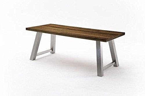 Tisch, Esstisch, Esszimmertisch, Gestell Edelstahl, Eiche furniert, L=240 cm