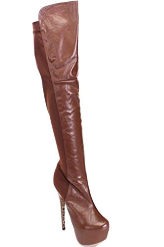 Young Aloud FAUX LEATHER SIDE ZIPPER OVER THE KNEE PLATFORM HIGH HEEL BOOTS Brown Pu abIn39