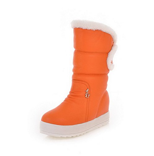 AllhqFashion Womens Low-top Solid Pull-on Round Closed Toe Low-Heels Boots Orange DlYD2