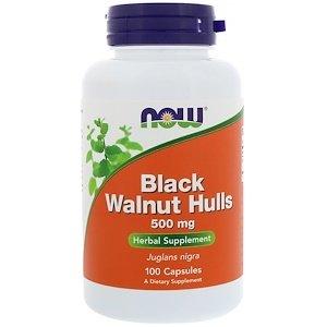Black Walnut Hulls, 500 mg, 100 Capsules (Hull Capsules 100 500 Mg)