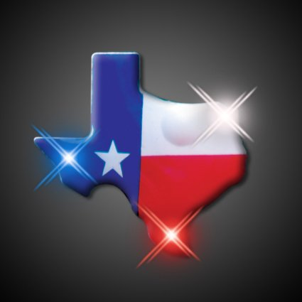 Light Up Texas Flashing Blinking LED Body Light Lapel Pins (25 Pack)