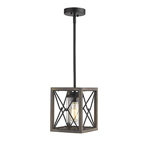 Farmhouse Ceiling Light Fixtures Zeyu 1-Light Farmhouse Pendant Light, Vintage Cage Hanging Light with Clear Glass Shade in Wood and Black Finish, 011-1… farmhouse ceiling light fixtures
