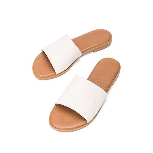 da pelle estivi a 35 Tacchi donna alla tacco con basso basso Sandali DHG piatti alti bufalo di Sandali Pantofole tacco moda Sandali casual qtB6w5H