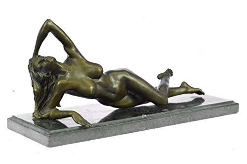 Signed Art Nouveau Gilt Bronze Sculpture Figure Statue Naked Nude Girl