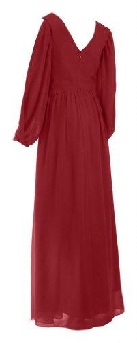 My Evening Dress- Robe de Soirée pour Fête pour Femmes Manches Longues en Mousseline de Soie - 36 Bordeaux