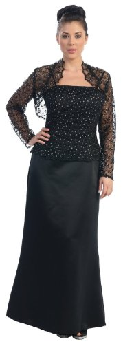 Mother of the Bride Formal Evening Dress #7837 (3XL, Black)