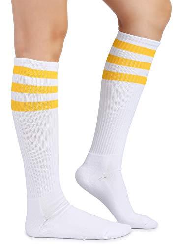 Eleray Cushion Classic Triple Stripes Cotton White Knee High Retro Tube Socks (Yellow/White)