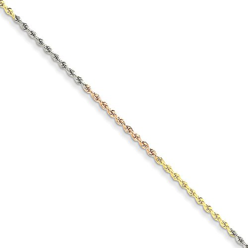 Tri Color Rope - Jewel Tie 14k Gold Tri-Color 1.8mm Diamond-Cut Rope Anklet Chain 10