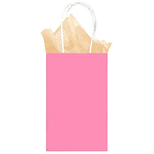 Amscan Party Friendly Small Kraft Bag, New Pink, 8 1/4