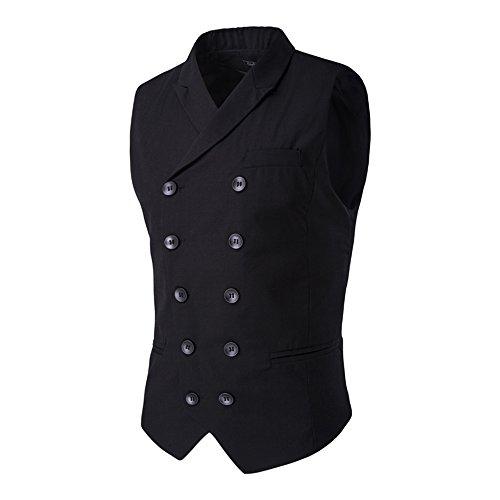 MAGE MALE Men's Suit Vest Designer Solid V-neck Double Breasted Lapel Slim Fit Business Dress (Men Designer Suits)