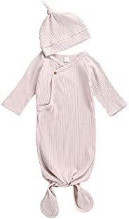 Suissewind Newborn Baby Girl Boy Knit Cotton Knotted Pjs Nightgown Soft Sleeper Gown with Hat Set for Unisex B
