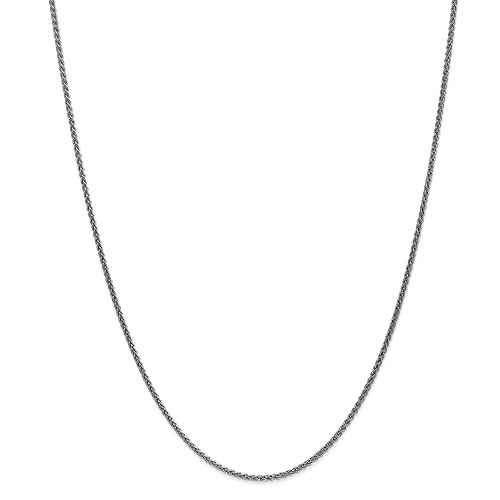 14k Gold Wheat Chain Necklace with Lobster Clasp (1.5mm) - White-Gold, 18 in