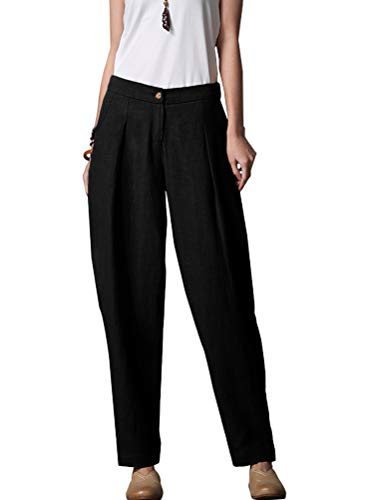 Minibee Women's Casual Linen Pants Elastic Waist Tapered Pants Trousers With Pockets Black XL ()