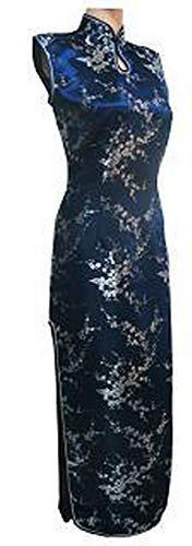 特権負担フリッパー赤い中国の伝統的なドレス女性シルクサテンサファイアサイズS M L XL XXL XXXL,紺,M