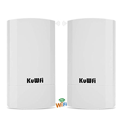 KuWFi 2-Pack 300Mbps Wireless Outdoor CPE Kit Indoor Outdoor Point-to-Point Wireless Access Point Bridge Supports 1-2KM Transmission Distance Solution for PTP/PTMP (Pre-Program WDS)
