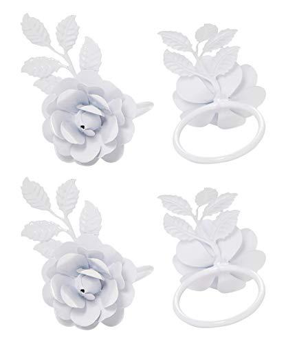 (Vibhsa Flower Napkin Rings Set of 4 (White Rose))