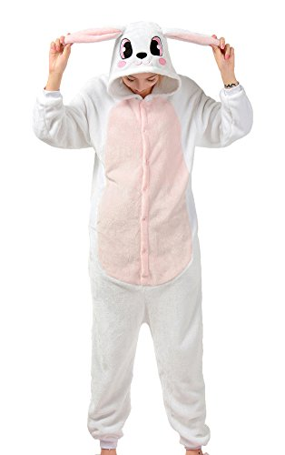 Tonwhar Bunny Onesie Pajamas Costume Cosplay Homewear Lounge Wear (M(Height:160cm/5.24'-169cm/5.54'), Pink) - Bunny Costume Man