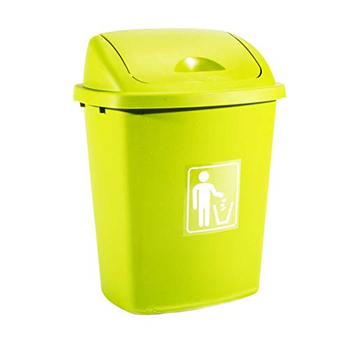 Trash Can 40L/65L School Kitchen Restaurant Waste Bin Swing Lid Bin Large Capacity Commercial Trash Can Outdoor Dustbin Durable (Color : Green, Size : 65L)