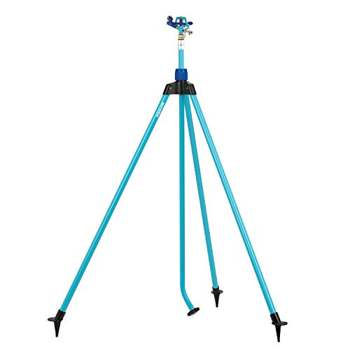 Aqua Joe AJ-IST72ZM Indestructible Series Zinc Impulse Sprinkler, w/Extendable Tripod Up to 72 Inches