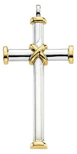 14 carats-Bicolore-JewelryWeb pendentif croix