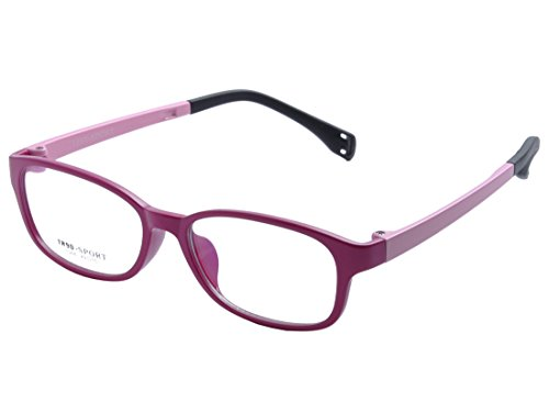 DEDING Kinder Acetate optische Brillenfassung mit Federscharnier DD1396 (Rosa&Rot)