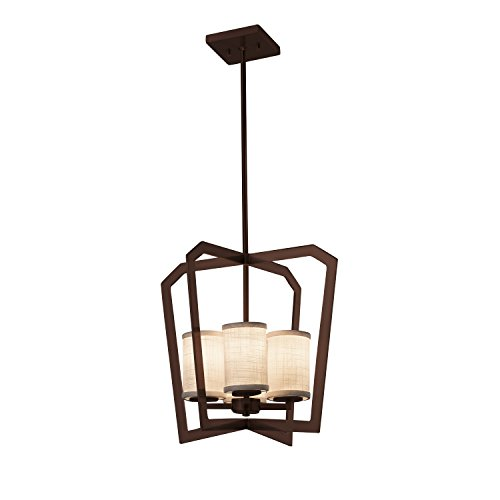 Flat Rim Chandelier - Textile - Aria 4-Light Intersecting Chandelier - Cylinder with Flat Rim Woven Fabric Shade in White - Dark Bronze Finish