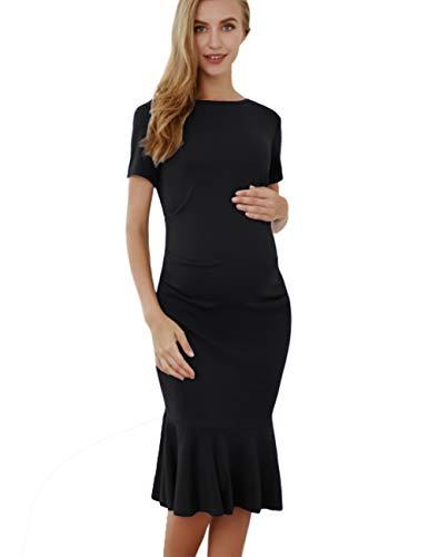 Mermaid Maternity Bodycon Dress Short Sleeve Ruched Knee Length Shirred Dress (2XL, Black)